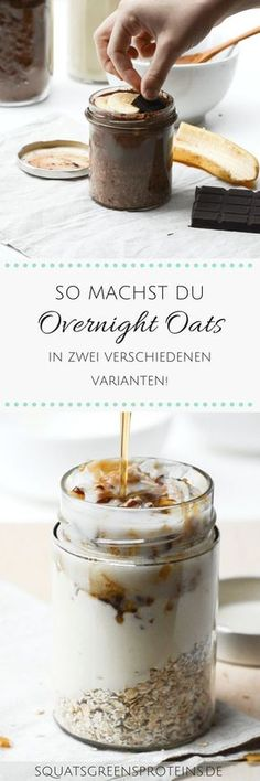 Two Recipes for Overnight Oats - Healthy Breakfast To Go - Squats, Greens & Proteins by Melanie- Two Recipes for Overnight Oats – How to Make Your Healthy Breakfast To Go – Vegan Chocolate Banana Apple Yogurt – Squats, Greens & Proteins Easy Smoothie Recipes, Oats Recipes, Detox Recipes, Snack Recipes, Detox Breakfast, Breakfast Snacks, Breakfast On The Go, Breakfast Healthy, Overnight Breakfast