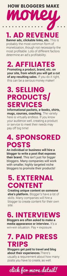 How Bloggers Make Money Infographic   http://CommonCanopy.com: This infographic is so helpful! I've always wondered how bloggers made a serious income. The post it's attached to is even more informative! It talks about how to make your income sustainable in the long-term!