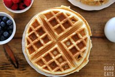 Use this Fluffy Waffle Recipe to make thick, fluffy waffles without the hassle of beating egg whites! Make a double-batch and freeze for homemade waffles in minutes. Waffle Batter Recipe, Waffle Recipes, Casserole Recipes, Bread Recipes, Breakfast Waffles, Breakfast Casserole, Breakfast Recipes, Pancakes, Calamari Recipes