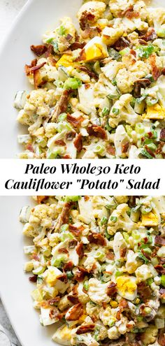 This cauliflower potato salad doesn't actually use any potatoes but it's packed with ALL the goodies! Roasted cauliflower is tossed with bacon, hardboiled eggs, pickles, green onion and a dijon dressing. It's paleo, keto, low carb, Whole30 and amazing for any BBQs or picnic. #paleo #cleaneating #lowcarb #whole30 Side Dishes For Bbq, Low Carb Side Dishes, Healthy Side Dishes, Vegetable Side Dishes, Side Dish Recipes, Dinner Recipes, Low Carb Potatoes, Cauliflower Potatoes, Healthy Potatoes