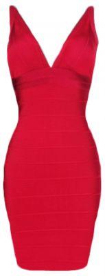 Red Deep V-neck Bodycon Dress