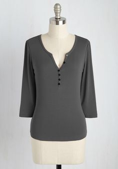 Basic of Operations Top in Charcoal, #ModCloth