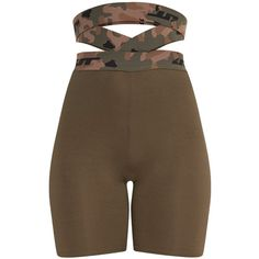 Deanna Khaki Camouflage Waist Cycle Shorts ($38) ❤ liked on Polyvore featuring activewear and activewear shorts