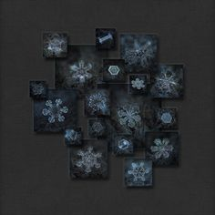 Dark crystals 2012-2014: collage with 18 real snowflake macro photos in square frames on dark grey canvas background