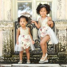 Gorgeous sisters wearing our Vintage Glam Sparkle Rompers™  Orders yours at www.bellethreads.com!  We have a few ready to ship. Xo