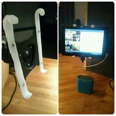 Thermomorph tablet holder adapter for monitor stand, perfect for music and recipes in the kitchen.