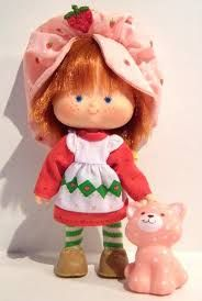 Strawberry Shortcake doll and custard the cat  (scented dolls)