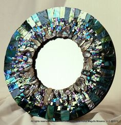 Mirror by Ariel Finelt Shoemaker.Stunning shell and glass mirror in my favourite colours!Love the texture of the mosaic pieces Mosaic Tile Art, Mirror Mosaic, Mosaic Glass, Glass Art, Mirror Glass, Mirror Mirror, Stained Glass, Seashell Art, Seashell Crafts