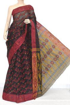 Black Handwoven Bengali Tant Cotton Jamdani Saree (Without Blouse) 13973