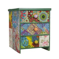 Small Wooden Floral Patchwork Cabinet
