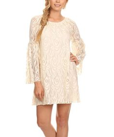 Look what I found on #zulily! Blush Floral Lace Bell-Sleeve Dress - Plus Too by Lady's World #zulilyfinds