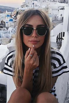 Summer fashion | Blacl/white stripes t-shirt and Ray-Ban Clubmaster RB3016 Clubmaster #sunglasses. Pic: Chique Le Frique. www.smartbuyglass...