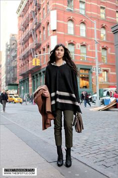 Vintage Coach Bag + Sleeved Poncho + Sculptural Heels - Prince & Mercer (NYC) New York