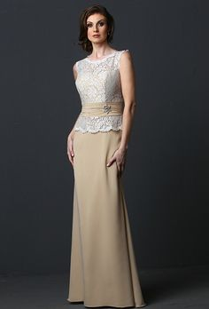 La Perle. Slim A-line, floor-length gown created from pearl chiffon and lace. Bateau neck over sweetheart bodice, cumberband at the waist with one-sided beaded motif and keyhole back.