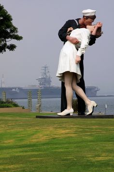 USS Midway Aircraft Carrier Museum Park- Kissing Couple  San Diego, CA
