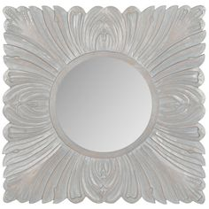 Acanthus Mirror in Grey Mirror Wall Collage, Wall Mirror With Shelf, Round Wall Mirror, Mirror House, House Wall, Wood Mirror, Mirror Mirror, Classic Wall Mirrors, Rustic Wall Mirrors