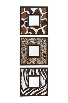 "Animal Print Mirror(s) from Haute Look --> ""This striking animal print mirror set is the perfect way to bring the beauty of the great outdoors inside. The fashionable mirrors add charm and vivacity to your home. This animal print mirror set adds fun flare to the living room, bedroom, or entryway. - Black trimmed varying faux leather prints (zebra, leopard, giraffe) - Set of three - Ready to hang - No assembly required - Mirror surface: 3.5 W x 3.5 H each - 10 W x 1.5 D x 10 H - Imported"""