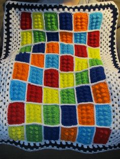 My nephew loves Lego& So what did I make for him for his birthday? A lego blanket! This blanket is so so super cute! I am so happy . Crochet Afghans, Crochet Quilt, Crochet Yarn, Crochet Stitches, Crochet Lego, Crochet Crafts, Crochet Projects, Afghan Patterns, Crochet Blanket Patterns