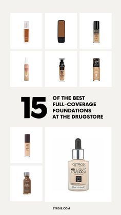 Looking for a really good full-coverage foundation in your local drugstore? Check out the best full-coverage drugstore foundations inside. Full Coverage Drugstore Foundation, Foundation Tips, Drugstore Makeup, Makeup 101, Elf Makeup, Makeup Tools, Makeup Ideas, Daily Beauty Tips, Best Makeup Products
