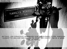 In 1962, Joe DiMaggio arranged for roses to be delivered to Marilyn's grave TWICE a week for TWENTY years.
