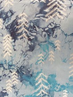 Metallic Trees with Snowflakes or Moon Gift Tag Mixed Media in aqua and Pink