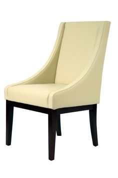 Safavieh Furniture MCR4500A - The simplicity of lines and gently sloping arms of the cream-colored leather upholstered Sloping chair, with legs in cherry mahogany finish, prove an elega