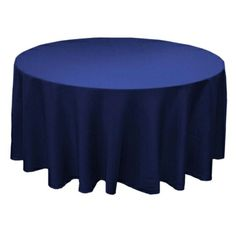 GOOD DEAL on buying your own tablecloths --- think this would be cheaper than renting table cloths, and you might be able to sell them after the wedding. 90 Inch Round Polyester Navy Blue Tablecloth