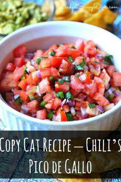 Copy Cat Recipe – Chili's Pico de GalloDone in 10 MINUTES! Naturally Gluten Free!!! Frugal and Easy To Make - Pin Now For Later - Copy Cat Recipe - Chili's Pico De Gallo - Perfect For Game Day