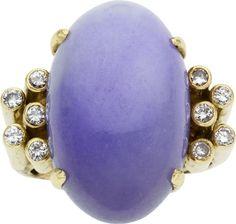 , Lavender Jade, Diamond, Gold  vintage ring