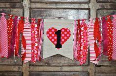 Valentines first birthday highchair rag banner, Valentine birthday party table decor, February high chair rag garland, cake smash photo prop