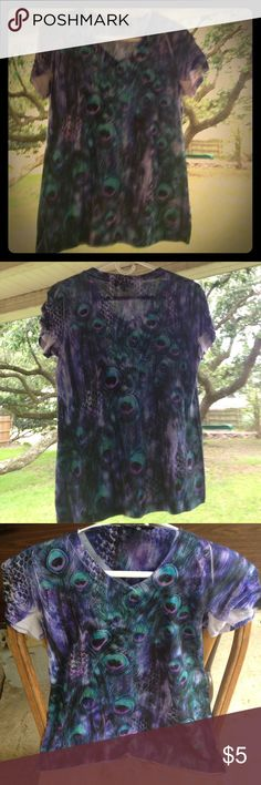 ✨SUMMER TOP✨ STUDDED WOTH PEACOCK DESIGN.  NWOT LEVEL EIGHT Tops Blouses