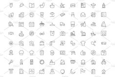 250 Hotel and Restaurant Doodle Icon by Creative Stall on @creativemarket