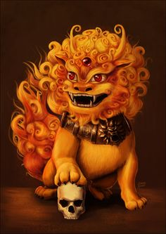 Komainu- Japanese myth: a lion like creature with attributes of a dog. It protected temples by warding off evil spirits.
