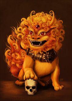 Komainu- mito japonês: um leão como atributos de um cão. É protetor dos templos para afastar os maus espíritos.