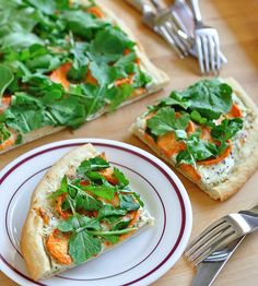 Sweet Potato, Ricotta, and Arugula Flatbread  serves 8 to 16 as an appetizer or 4 as a light dinner  1 pound pizza dough  1 sweet potato (roughly 10 ounces)  1 cup ricotta  2 teaspoons fresh thyme  1 cup grated Parmesan cheese, loosely packed  2 ounces arugula (two big handfuls)  Salt and pepper