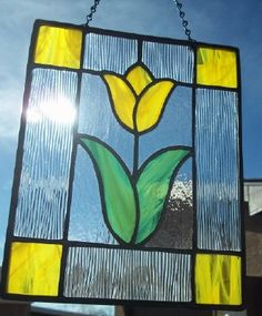 STAINED GLASS - Bright Yellow Tulip Floral Stained Glass Suncatcher Window Panel