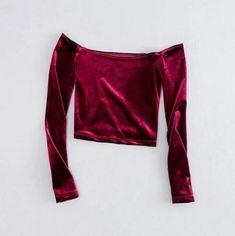 b1e811a2a21ea Vintage Off Shoulder Velvet Top