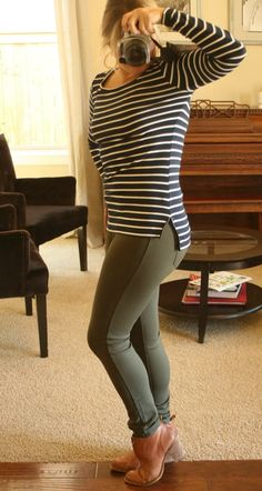 Pixley Greenich Striped Knit Top and Liverpool Anita Skinny Pant in olive. Totally in love with all of the colors here and the look of the pants.