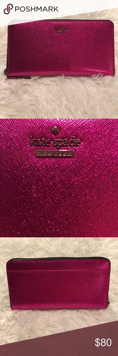 Brand New Kate Spade Metallic Lacey Wallet Brand new, never used Kate Spade wallet! Both zippers are fully functional, and holds up to 12 cards! Kate Spade Bags Wallets