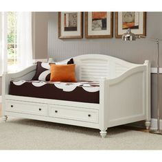 Home Styles Bermuda Daybed, Brushed White Improve the look of a bedroom with the Home Styles Bermuda White Wood Daybed. Inspired by the fusion of Old World tropical and traditional British styles, this bed features mahogany solids and engineered wood that is brushed with a white finish. The shutter-style design and turned feet makes this bed an attractive piece that will go with a wide variety of decor.