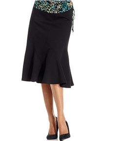 JM Collection Skirt, Elastic-Waistband Ponte-Knit Flared - Womens Skirts - Macy's