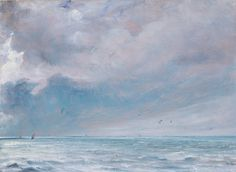 John Constable, The Sea near Brighton, oil paint on paper on card, . Cloud Drawing, Painting & Drawing, Landscape Drawings, Landscape Paintings, Landscapes, John Constable Paintings, Seascape Paintings, Painting Clouds, Famous Art
