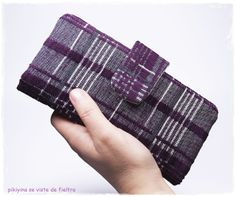 Cartera Billetera Tartan Plum / Woman long wallet Tartan Plum / Phone wallet / Passport ladies wallet