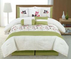 """7 Piece Queen Rennes Embroidered Comforter Set by KingLinen. $79.99. This amazing set will transfer your bedroom into a lovely retreat. Multi colored embroidery with pintuck details further enhance the classic look.3 decorative pillows included. FeaturesColor: MultiSize: QueenMachine washable Matching curtains availableThis set includes:1 Comforter (88""""x92"""")2 Shams (20""""x26""""+3"""")1 Bedskirt (60""""X80""""+14"""")2 Euro Shams(26""""x26"""")2 Square Cushions(17""""x17"""")1 Breakfast..."""
