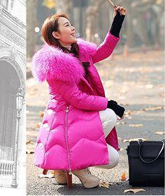 Enlishop Women's Winter Warm Puffer Fur Collar Long Down Jacket Coat with Hood