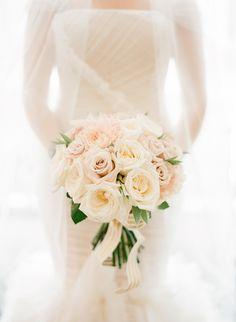 Peach wedding bouquet on Style Me Pretty