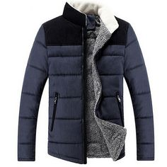 2014 Fashion casual solid warm high quality cotton coat stand collar thermal men down coat  drop shipping MWM589