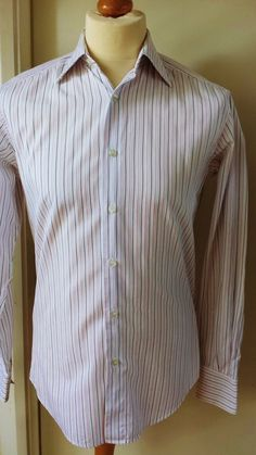 ZEGLA Shirt Mens Size M 15 38 White Black Pink Formal Office or Smart Casual