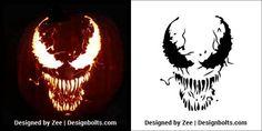 5 Free Venom & Scary Halloween Pumpkin Carving Stencils, Patterns, Printable Templates & Ideas 2018 - Best Do It Yourself (DIY) Ideas 2019 Disney Pumpkin Stencils, Halloween Pumpkin Stencils, Disney Pumpkin Carving, Scary Pumpkin Carving, Halloween Pumpkin Carving Stencils, Amazing Pumpkin Carving, Pumpkin Carvings, Carved Pumpkins, Halloween Tags