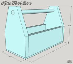 Kids Tool Box - buildsomething.com Kids Tool Box, Tool Box Diy, Wood Tool Box, Wooden Tool Boxes, Wood Tools, Easy Woodworking Ideas, Woodworking Projects For Kids, Wood Projects, Box Building